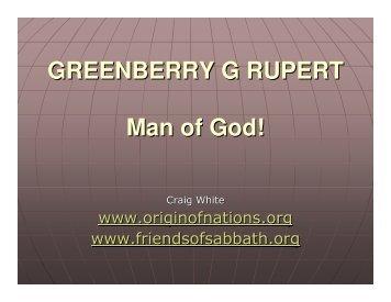 GREENBERRY G RUPERT Man of God! - Friends of the Sabbath ...