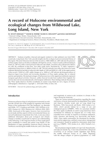 A record of Holocene environmental and ecological changes from ...