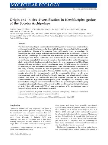 Origin and in situ diversification in Hemidactylus geckos - Animal ...