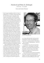 Nachruf auf Peter A. Schlegel