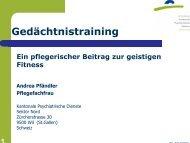Gedächtnistraining - Kantonale Psychiatrische Dienste - Sektor Nord