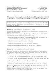 ¨Ubung zur Vorlesung Berechenbarkeit und Komplexität 2008/09