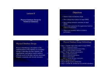 Lecture 8 Objectives Physical Database Design