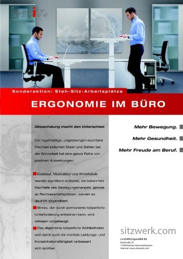 Sonderaktion bis 30.04.2012 Steh Sitz Arbeitsplaetze