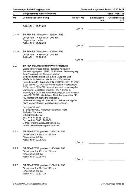 Ausschreibungstexte - Steuernagel Handelsgesellschaft mbH