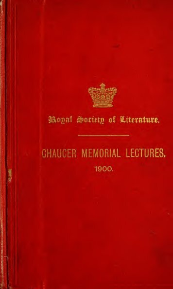 Chaucer memorial lectures, 1900. Edited with an introd. by ... - Index of
