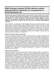 VINCI Energies Svizzera/ ETAVIS rafforza il settore dell'automazione ...