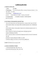 CURRICULUM VITAE - University for Development Studies