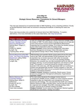 Case Map for Baron & Kreps Strategic Human Resources - Harvard ...