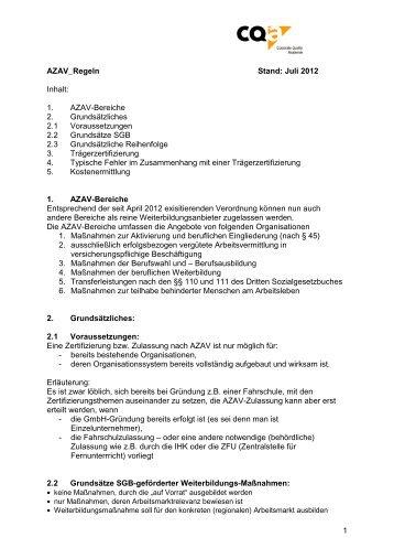 AZAV-Regeln - CQa