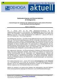 Mindestlohn Gebäudereinigung und Zimmermädchen - DEHOGA ...