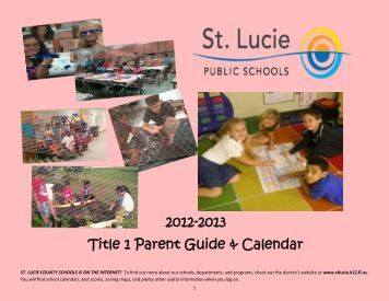 Parent Guide & Calendar - St. Lucie County School District