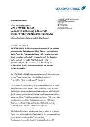 VOLKSWOHL BUND Lebensversicherung a.G. erhält wieder Fitch ...