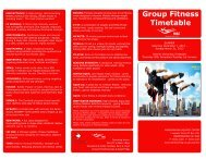 Group Fitness timetable for 1 December to 31