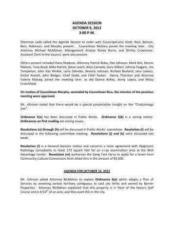 agenda session october 9, 2012 3:00 pm - City of Chattanooga
