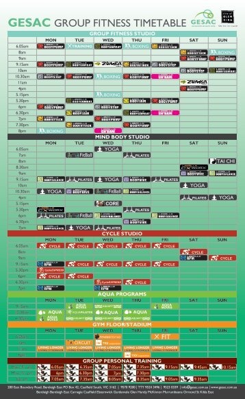 GESAC GROUP FITNESS TIMETABLE