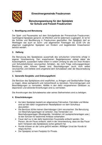 Benutzungsregelment - Fraubrunnen