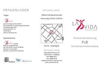 Informationsflyer PSB im Frauenladen - La Vida Berlin gGmbH