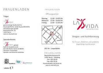 Informationsflyer Frauenladen - La Vida Berlin gGmbH