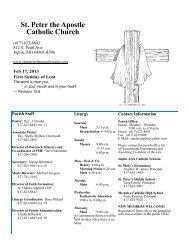 St. Peter the Apostle Catholic Church - E-churchbulletins.com