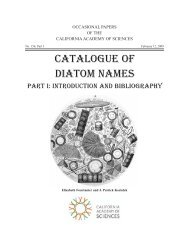 Catalogue of Diatom Names Part I - Academy Research - California ...
