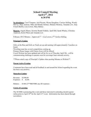 School Council Meeting April 2 , 2012 6:30 PM