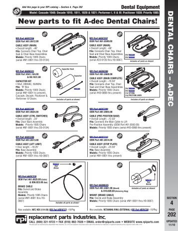 A-dec Dental Chairs Flyer - Replacement Parts Industries