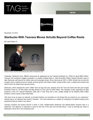 Starbucks With Teavana Moves Schultz Beyond Coffee Roots