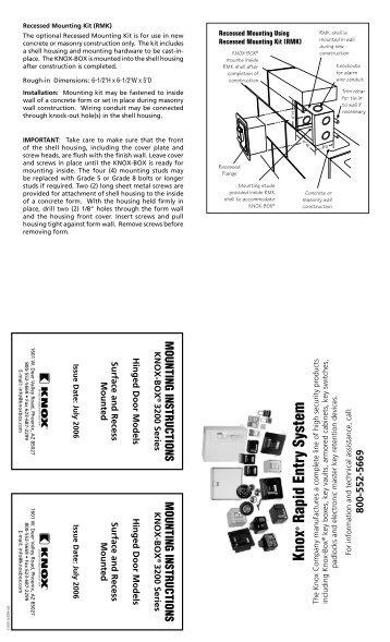 3200 Series Hinged Door Mounting Instructions - Knox Box