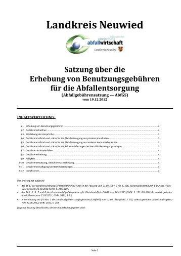 Satzung über die Erhebung von Benutzungsgebühren für die