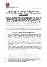 Satzung über die Erhebung des Kostenersatzes für die ... - Kreis Plön