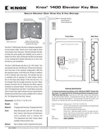 Knox® 1400 Elevator Key Box