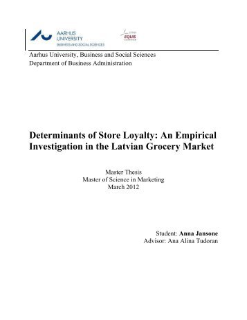 Determinants of Store Loyalty: An Empirical Investigation in ... - PURE