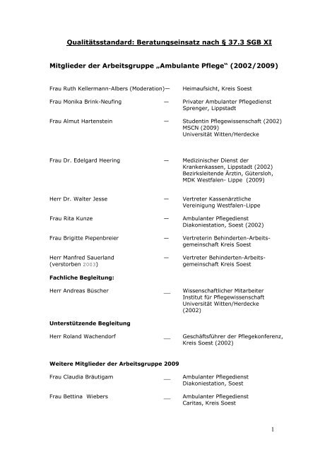 Ambulante Pflege - Kreis Soest
