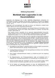 Merkblatt über Legionellen in der Hausinstallation - Kreis Soest