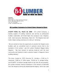 84 Lumber Company to Grand Open Hesperia Store