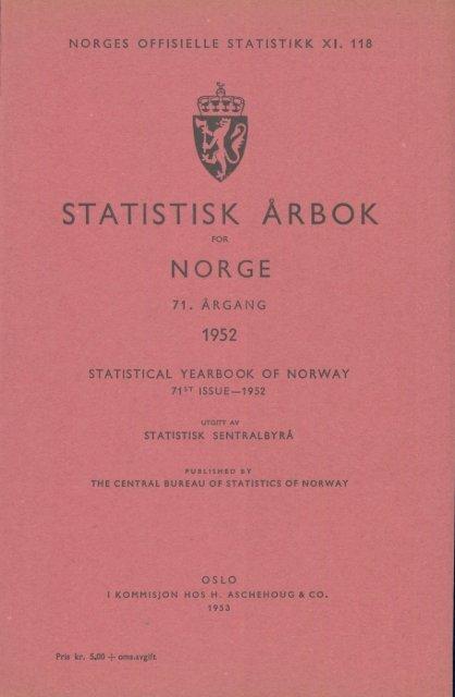 Statistisk Årbok for Norge 1952 - Statistisk sentralbyrå