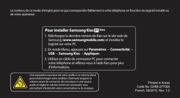 Pour installer Samsung Kies - les mobiles - Orange