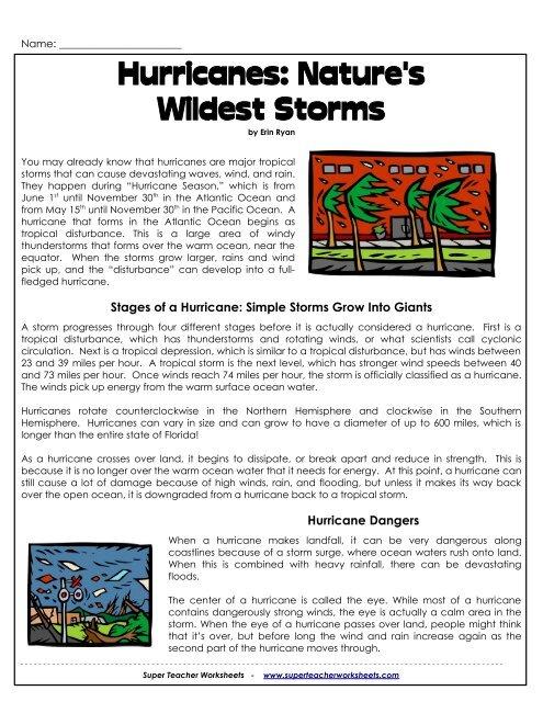 Hurricanes: Nature's Wildest Storms - Super Teacher Worksheets