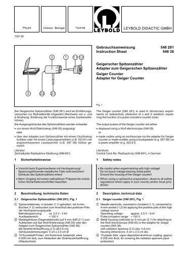 LEYBOLD DIDACTIC GMBH Gebrauchsanweisung 546 281 ...