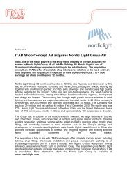 ITAB Shop Concept AB acquires Nordic Light Group ... - Itab Germany