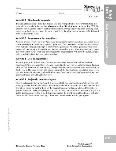 discovering french nouveau blanc unite 3 lecon 11 workbook answers page 100