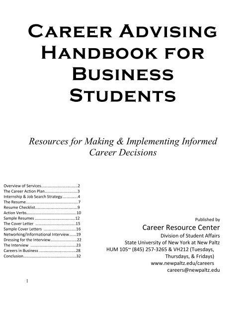 Career Advising Handbook for Business Students - SUNY New Paltz