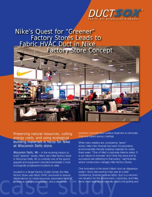 """padre simpático Nutrición  Nike's Quest for """"Greener"""" Factory Stores Leads to Fabric ... - DuctSox"""