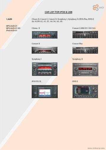 CAR LIST FOR IPOD & USB