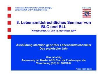 8. Lebensmittelrechtliches Seminar von BLC und BLL
