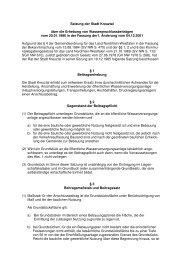 Satzung der Stadt Kreuztal über die Erhebung von ...