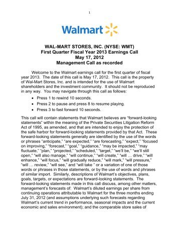 WAL-MART STORES, INC. (NYSE: WMT) First Quarter Fiscal Year ...