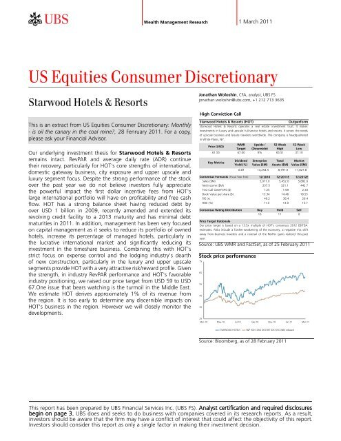 US Equities Consumer Discretionary - Online Services Login - UBS