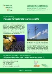 Fachfortbildung Manager für regionale Energieprojekte
